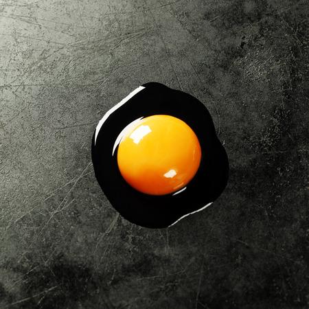 huevo blanco: Huevo crudo en el fondo oscuro