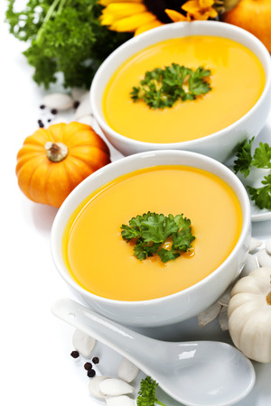 potage: Pumpkin soup for halloween party or thanksgiving day concept Stock Photo