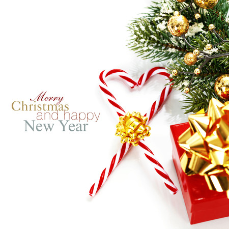 christmas candy canes and decorations over white stock photo 34108459 - Christmas Candy Decorations