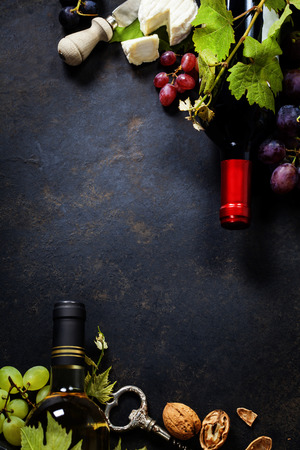 cheese knife: Food background with Wine, cheese and Grape.