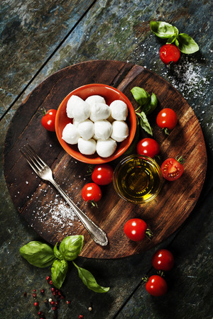 mozzarella cheese: Cherry tomatoes, basil leaves, mozzarella cheese and olive oil for caprese salad. Lots of copy space Stock Photo