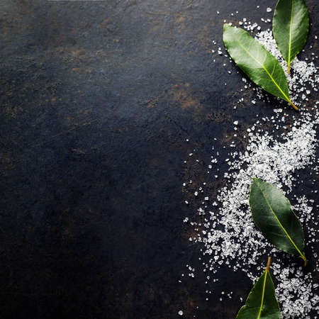 salt: Bay Leaves with Sea Salt on dark background