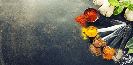 chili powder: Herbs and spices selection, close up Stock Photo