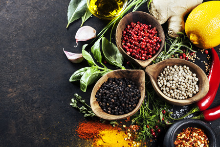 aphrodisiac: Herbs and spices selection, close up Stock Photo