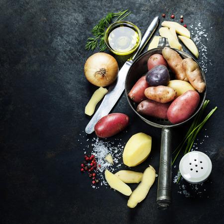 raw potato:  Fresh organic vegetables.