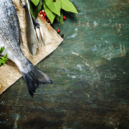 Food background with Fish and Wine. Lots of copy space photo