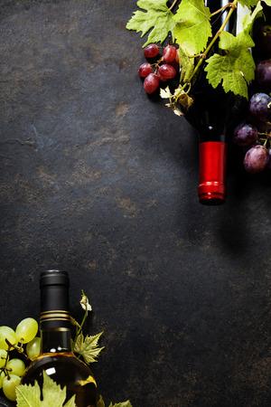 Eten achtergrond met Wijn en Druif Stockfoto