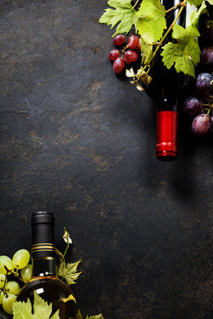 Food background with Wine and Grape