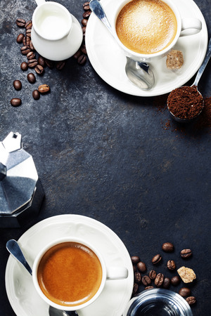 breakfast food: Coffee composition on dark rustic background. Coffee frame