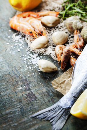 the dorada: Food background with Seafood and Wine
