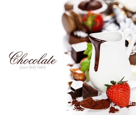 chocolate mint: Delicious rich and thick chocolate sauce in a jug and assorted chocolates - food and drink