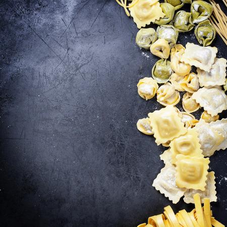 Fresh Italian Pasta on dark background