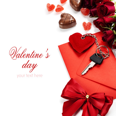 envelop: Red  envelop, roses, chocolate and key On white background  (with easy removable sample text) Stock Photo