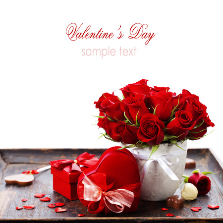 wooden insert: Valentine composition with roses and gift box over white (with easy removable sample text) Stock Photo