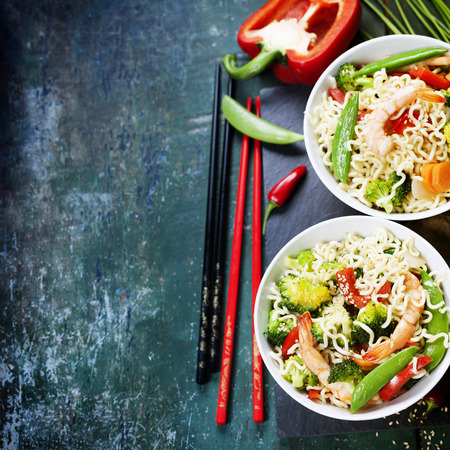 chinese noodle: Chinese noodles with vegetables and shrimps. Food background Stock Photo