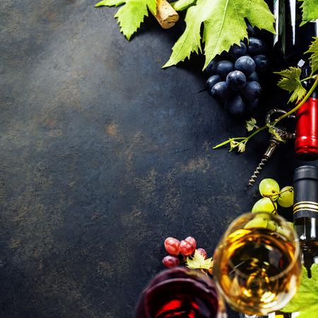 ワインとブドウの食品の背景。コピー スペースがたくさん。 写真素材