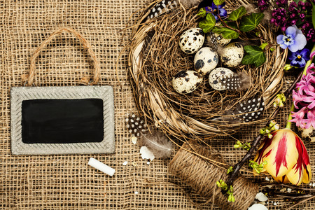 easter nest: Easter background with eggs, nest and flowers Stock Photo