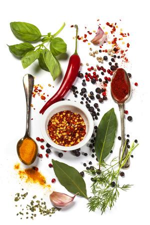 Herbes et épices sélection, de près