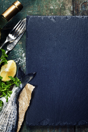 Food background with Fish and Wine. Lots of copy space Stok Fotoğraf - 38644139