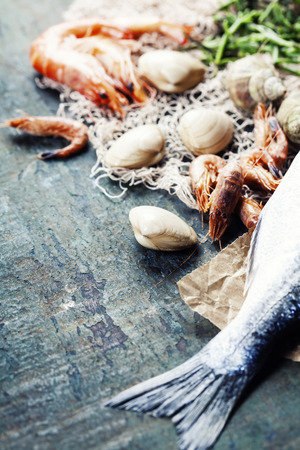 bream: Food background with Seafood and Wine. Lots of copy space Stock Photo