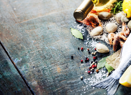 Food background with Seafood and Wine. Lots of copy space Stock Photo