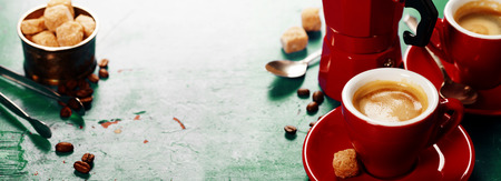 instant coffee: Coffee composition on blue rustic background