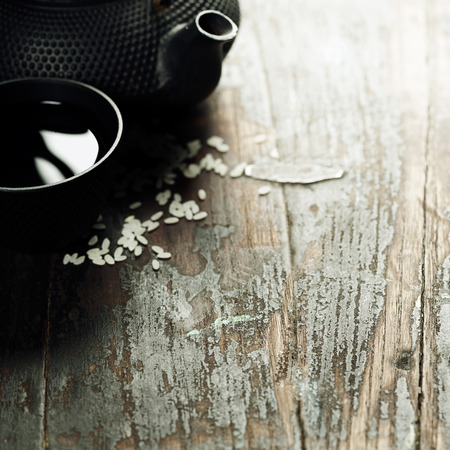 japanese foods: pair of chopsticks on rustic wooden background