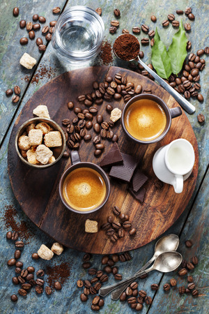 Coffee composition on wooden rustic background