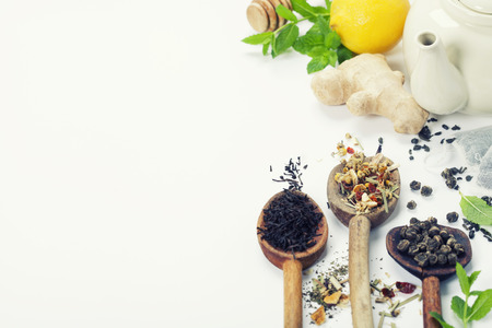 ginger health: Tea with mint, ginger and lemon on white background Stock Photo