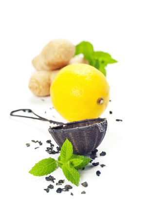 beverage menu: Tea with mint, ginger and lemon on white background Stock Photo