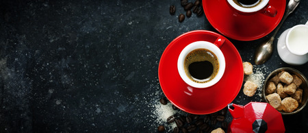 instant coffee: Coffee composition on dark background