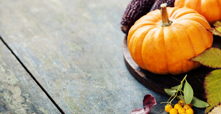 pumpkin border: Autumn concept with seasonal fruits and vegetables on wooden board Stock Photo