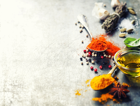 Herbs and spices selection on vintage background