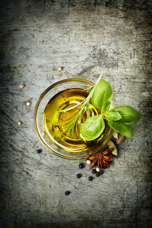 olive green: Herbs and spices selection, close up Stock Photo