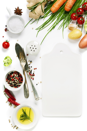 Organic food background - fresh vegetables and spices Stock Photo