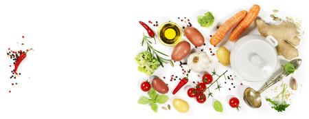 スープの材料。平面図です。 バイオの健康食品。有機野菜。