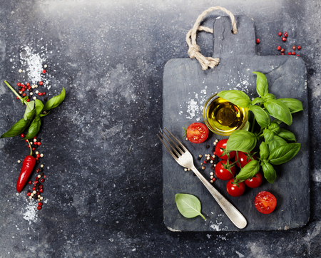 cutting board: vintage cutting board and fresh ingredients - Cooking, Italian food, Healthy Eating or Vegetarian concept