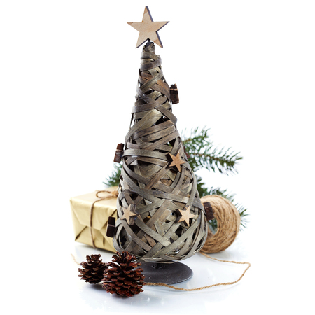 tree decorations: Wooden Christmas tree and decorations over white Stock Photo
