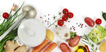 Ingrédients pour vue soup.Top. la nourriture Bio sain. Legumes organiques.