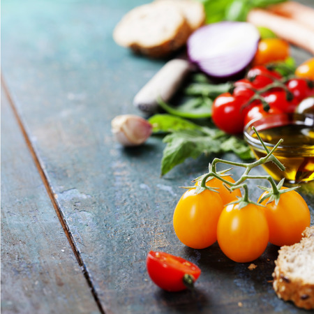 italy background: Tomato and basil sandwiches with ingredients - Italian, Vegetarian or Healthy food concept.  Background layout with free text space.