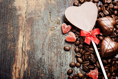 jamoke: Coffee and chocolate  on grunge wooden background - Valentines day and love concept
