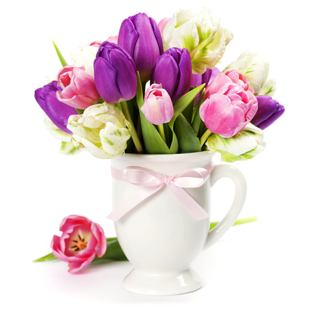 flowers in vase: Beautiful tulips bouquet   - spring, easter or gardening concept Stock Photo