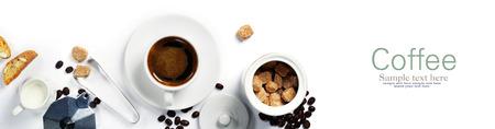 白地のエスプレッソ コーヒー, ミルクと砂糖の平面図です。テキストのためのスペースと背景