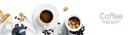 Top view of Espresso coffee, milk and sugar on white. Background with space for text Stockfoto