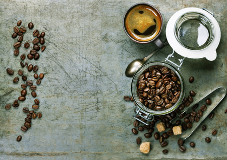 espresso: Espresso and coffee beans on vintage background