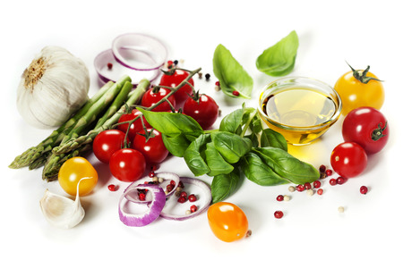 vegetables on white: Fresh vegetables over white background - Healthy eating, Vegetarian or Cooking concept Stock Photo