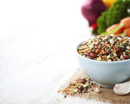 perejil: Mix of red  bean, lentil, green peas and chickpeas with vegetables over white