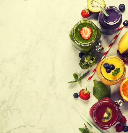 copyspace: Fresh smoothies and fruits on marble table Stock Photo