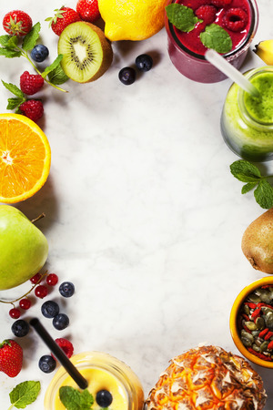 Fresh smoothies and fruits on marble table 스톡 콘텐츠