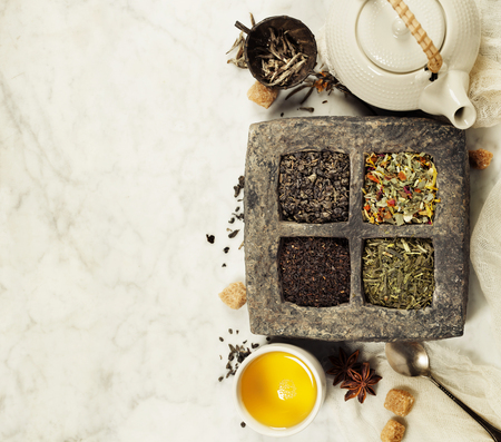 Assortment of dry tea. Tea composition with different kind of tea. Tea concept. Stock Photo